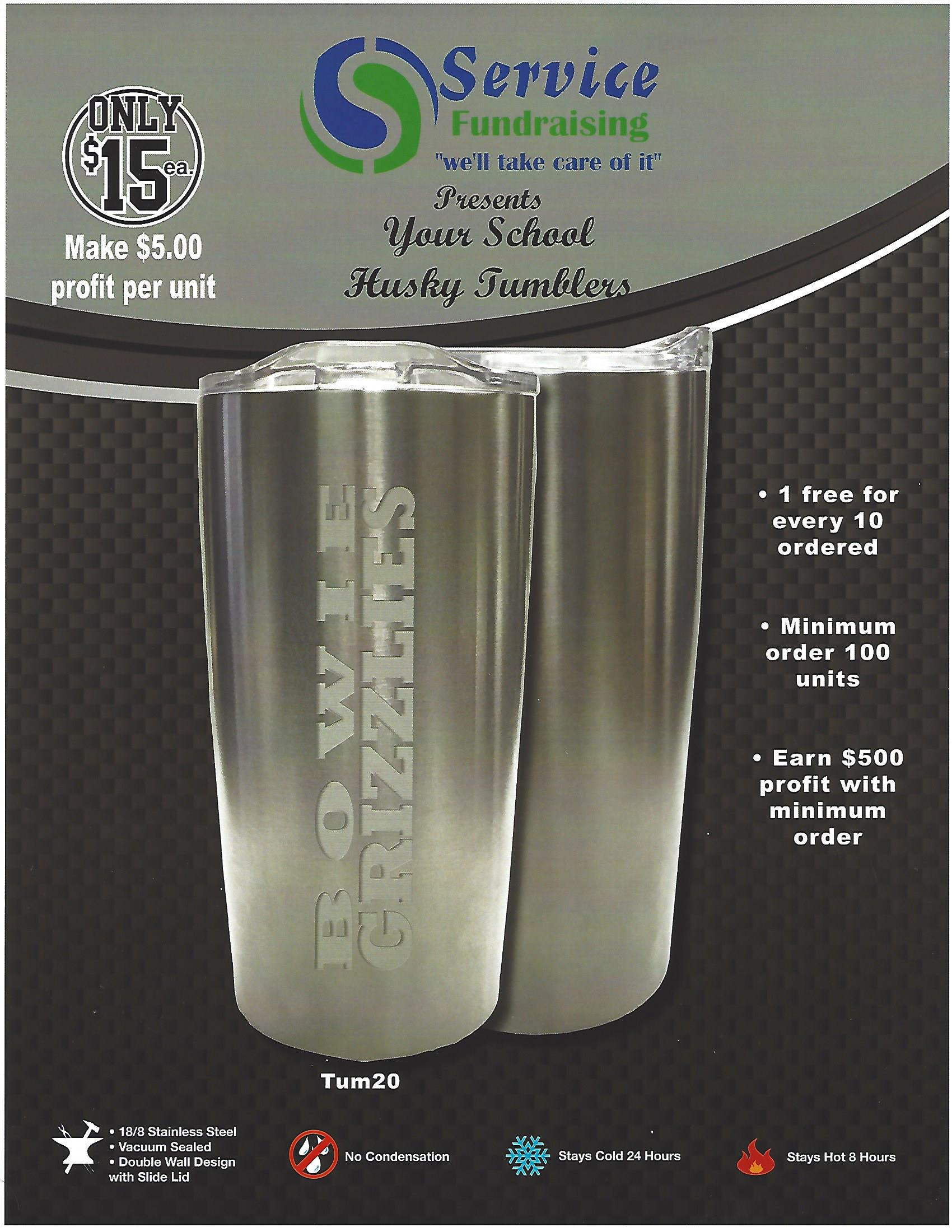 Husky Tumbler Silver 20 ounce Custom Etched